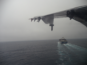 in flight chasing ship climate change study