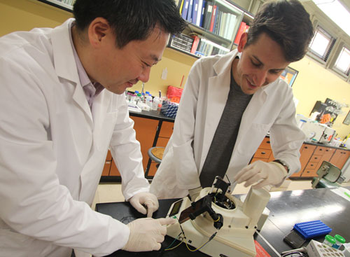 Biosensors Lab director Jeong-Yeol Yoon, left, and biomedical engineering PhD candidate Dustin Harshman work on Yoon's lab-on-a-chip device, which can analyze pathogens in situ in real time.