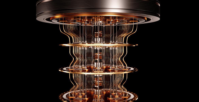 A quantum computer against a black background