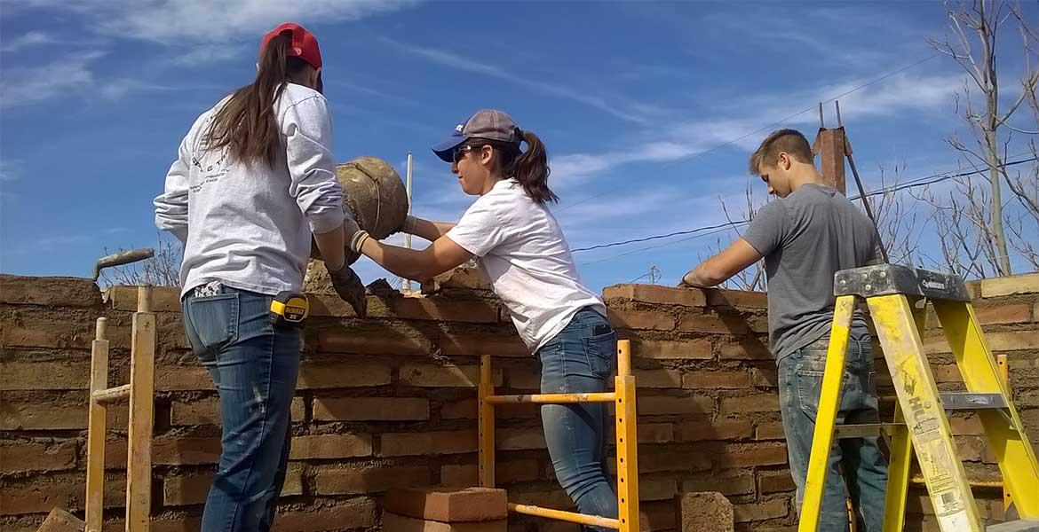 Three students wearing t-shirts and jeans stand on ladders to build a brick wall.