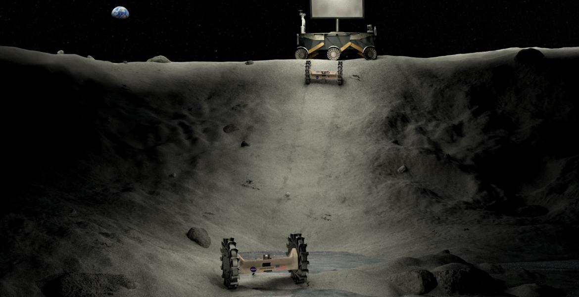 Illustration of power, lighting and roving concepts operating in a lunar crater. (Photo courtesy of NASA)