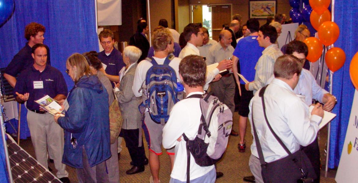 crowd at research showcase event