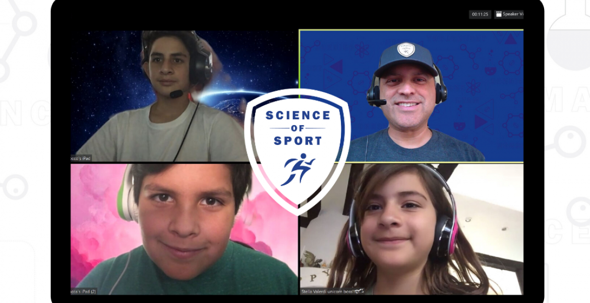 A screen split four ways between Ricardo Valerdi and three kids, with the Science of Sport logo in the center.