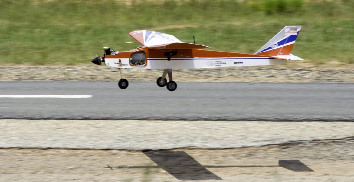 The UA plane, Wildcat 8, makes a smooth landing during IARC.
