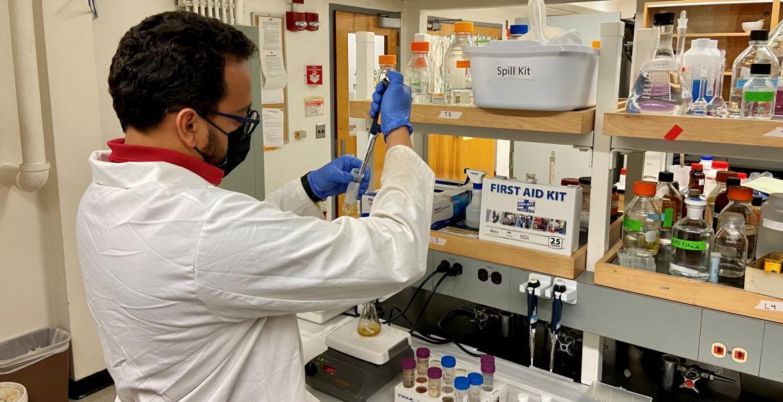 Marwan Abdujawad wearing a lab coat.
