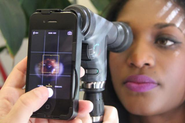 Wolfgang Fink is developing ophthalmic examination devices similar to the one shown here that attach to smartphones for health care providers to conduct eye exams in the field.