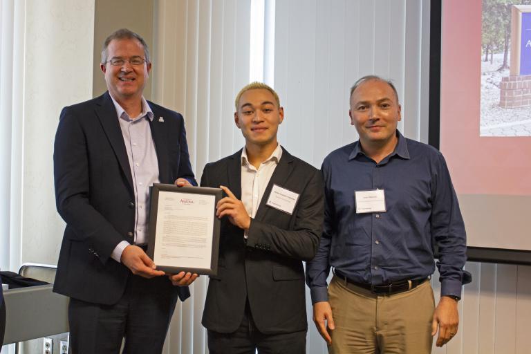 Shawn Granzier-Nakajima, outstanding senior in mechanical engineering, with nominator Samy Missoum and Craig M. Berge Dean David Hahn.