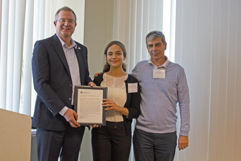 Gabrielle Lambert-Milak, outstanding senior in materials science and engineering, with nominator Pierre Deymier and Craig M. Berge Dean David Hahn.