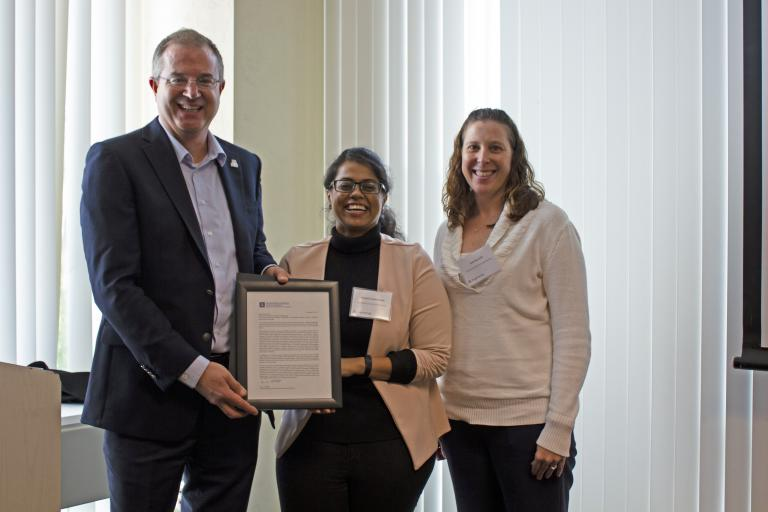 Bharati Neelamraju, outstanding graduate student in materials science and engineering, with nominator Erin Ratcliff and Craig M. Berge Dean David Hahn.