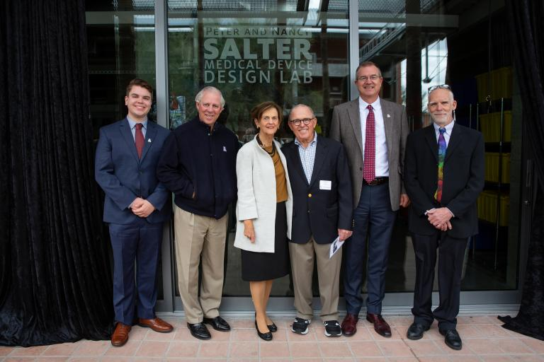 Medical Device Club President Jakob Bakall Loewgren, University of Arizona President Robert C. Robbins, Nancy and Peter Salter, College of Engineering Craig M. Berge Dean David Hahn, and Department of Biomedical Engineering Head Art Gmitro.