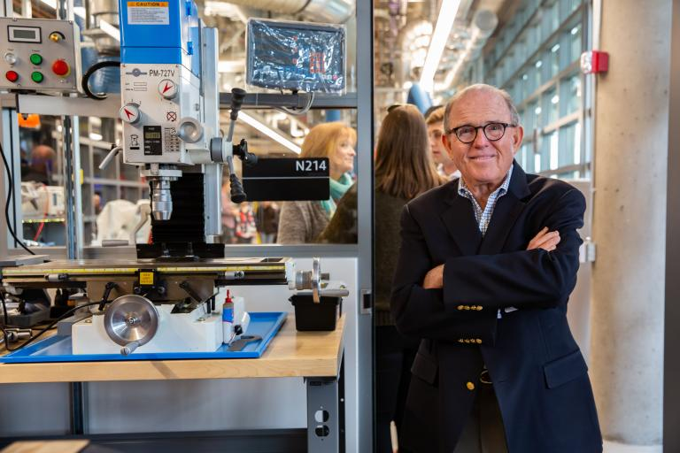 Peter Salter pauses for a smile during his tour of the lab.