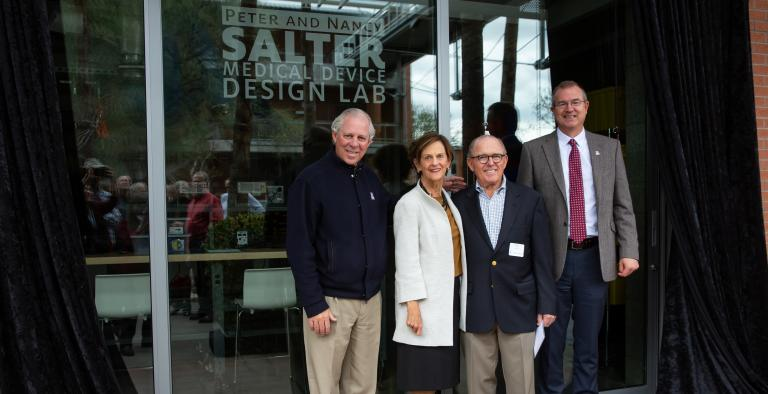 University of Arizona President Robert C. Robbins, Nancy and Peter Salter, and College of Engineering Craig M. Berge Dean David Hahn.