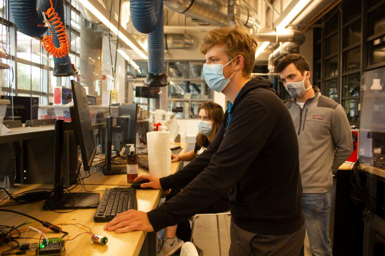BME students Spencer Ciammitti and Nathan Gill at work in the Salter Lab