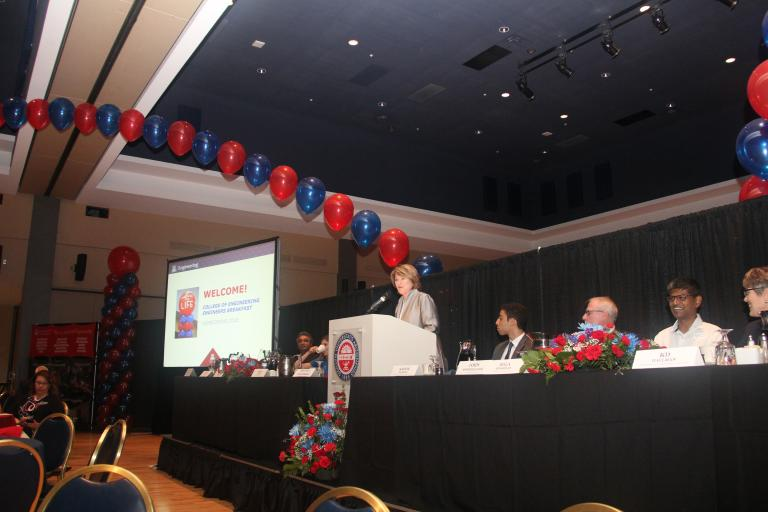 UA President Ann Weaver Hart welcomes alumni to the Engineers Breakfast