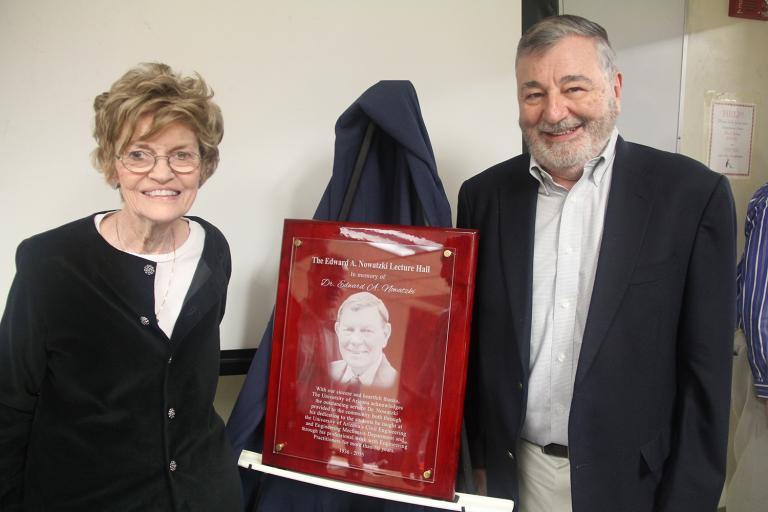Patricia Nowatzki and Juan B. Valdes at the dedication of the Edward A. Nowatzki Lecture Hall in the UA Civil Engineering Building
