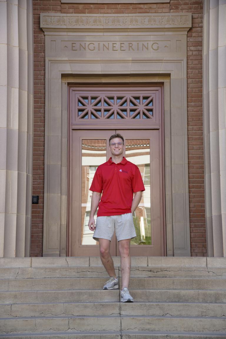 Ian Jackson on the steps of Old Engineering