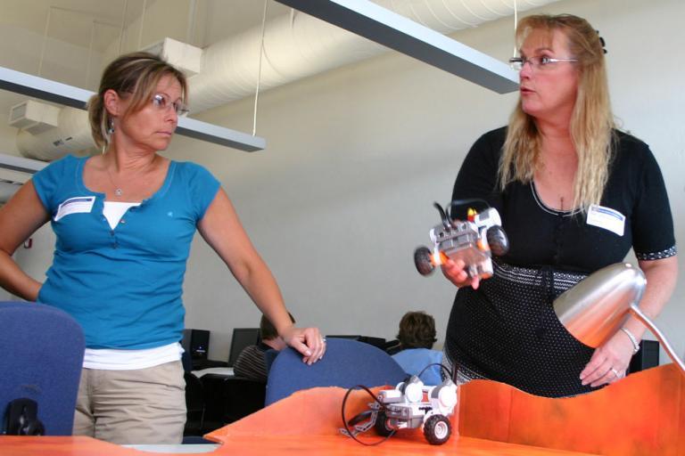 Teachers train with Lego robots
