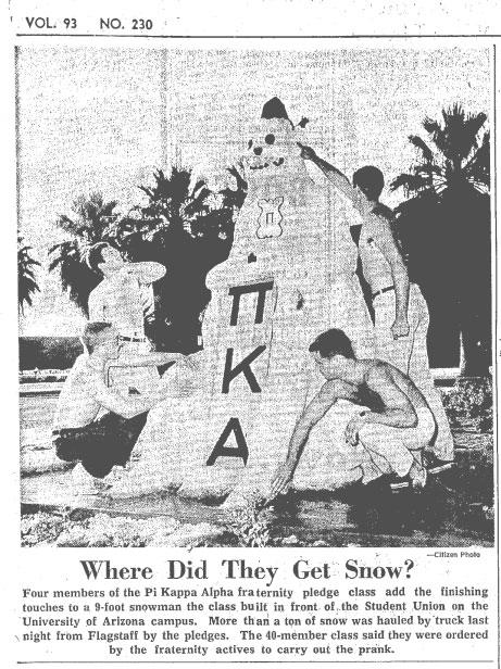 1965 Tucson Daily Citizen newspaper clip, a photo of four students building a snowman on the UA Mall.