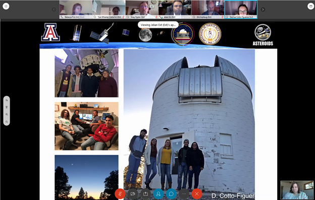Screenshot of a powerpoint presentation in a Zoom meeting, with several photos of students on the slide.