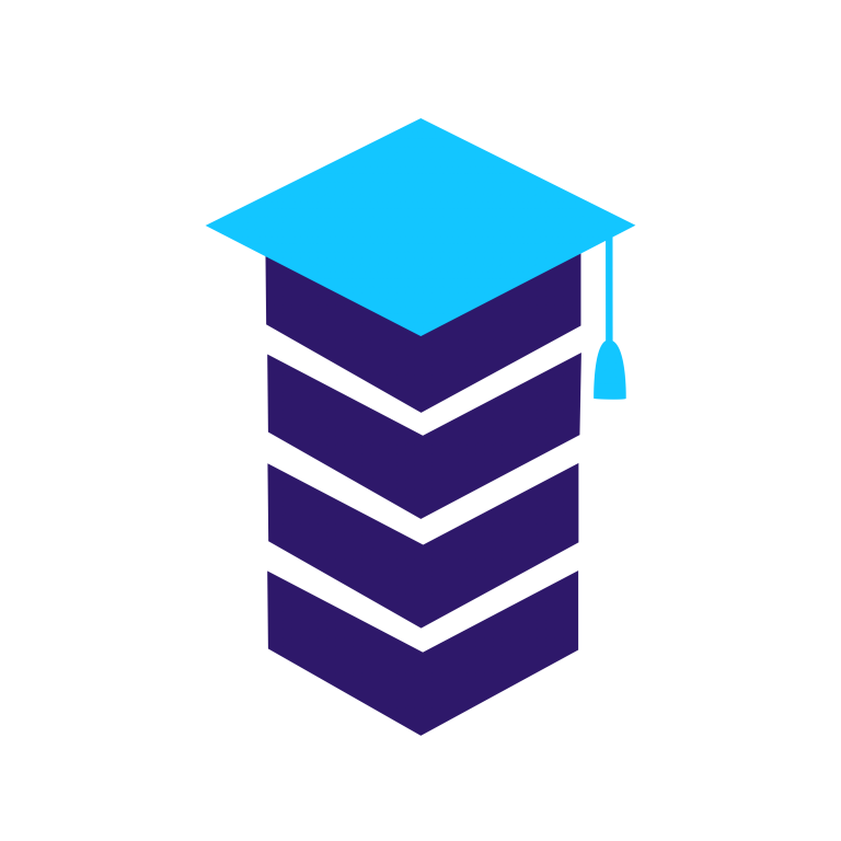 Graphic of four dark blue squares stacked up, with a light blue graduation cap on top.