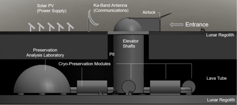 Artists rendering of the lunar ark, with cry-preservation modules and a preservation analysis laboratory underground in a lava tube, and an elevator shaft connecting the tube to the surface, where there are solar panels, a Ka-band antenna and an airlock.