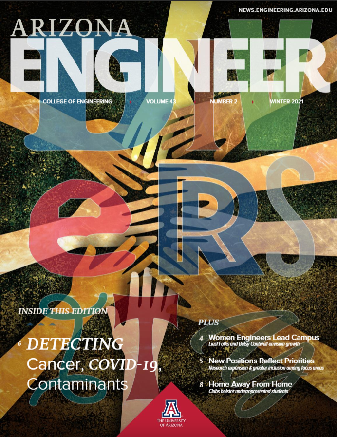 """The cover of the winter 2021 Arizona Engineer magazine. Multicolored hands come together in the center of the page behind the word """"Diversity."""""""