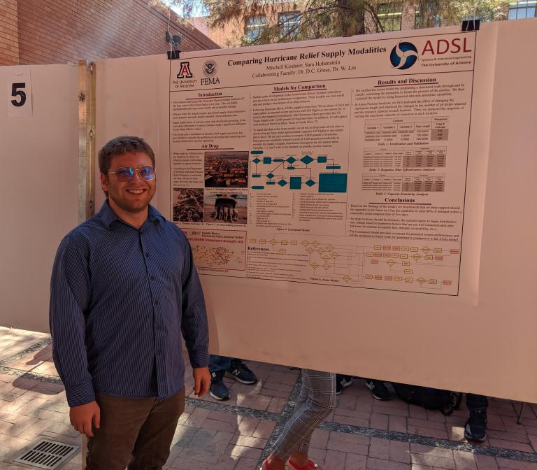 A man stands next to an academic poster he's presenting.
