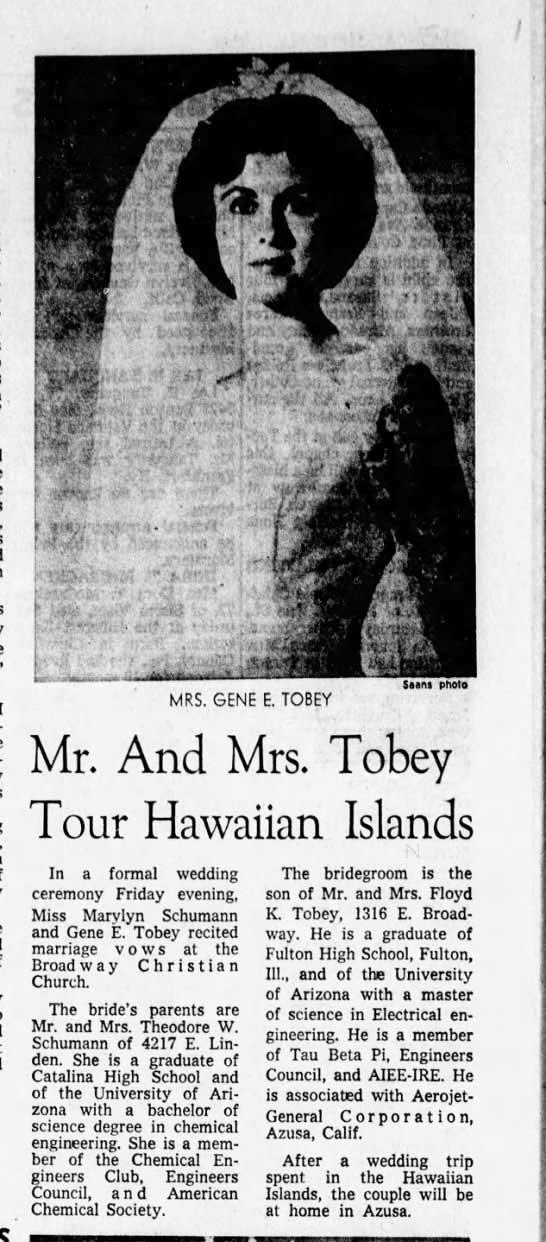 Newspaper clipping announcing the marriage of Gene E. Tobey and Marylyn Schumann.
