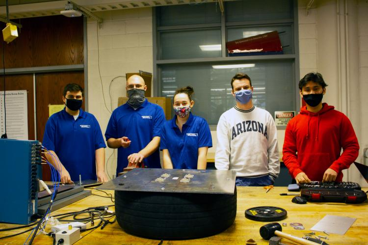 Team 21032 in the Aerospace and Mechanical Engineering Building machine shop