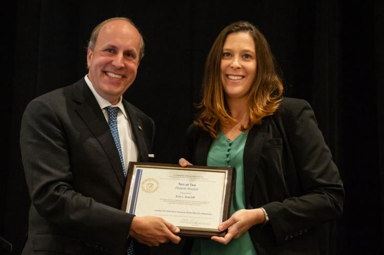 Erin Ratcliff and Department of Energy Under Secretary for Science Paul Dabber