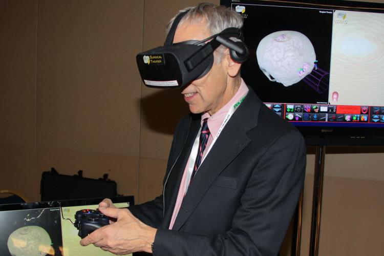 Marvin Slepian wearing VR goggles