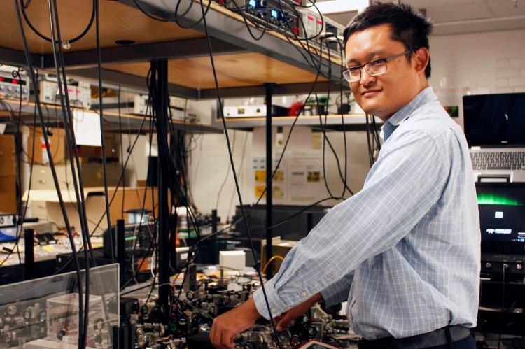 Zheshen Zhang in his lab