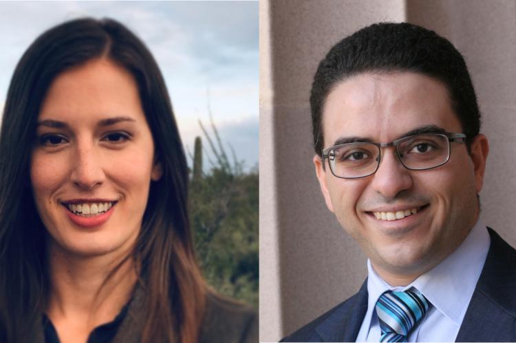 Headshots of Hannah Budinoff and Mohammed Shafae