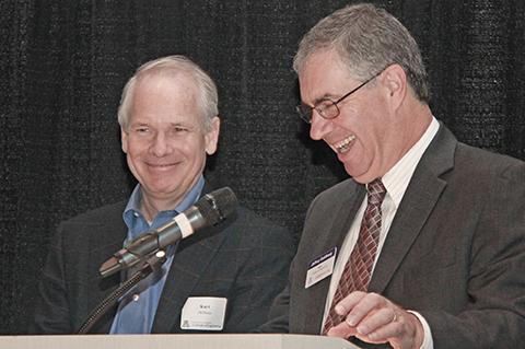 College of Engineering Dean Jeff Goldberg introduces Alumnus of the Year Kurt DelBene at the 2015 Engineers Breakfast.