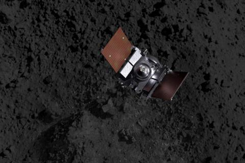 A spacecraft above an asteroid's terrain (artist's impression).