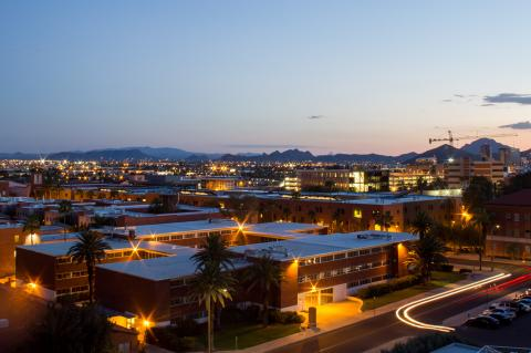 An photograph of campus in the evening, taken from above.
