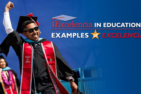 "A Latino student wearing sunglasses, a graduation cap and gown and a ""Class of 2019"" sash raises his fist into the air in excitement. Red and white text on the blue background reads, ""Excelencia in Education: Examples of Excelencia."""