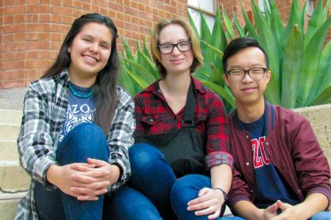 Nizhonabah Davis, Amanda Bertsch and Stanley Wong