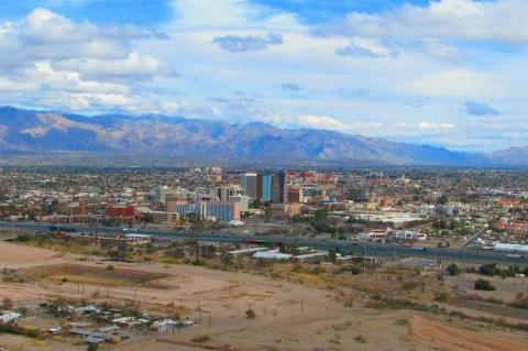 Aerial view of Tucson, taken from west of the I-10.