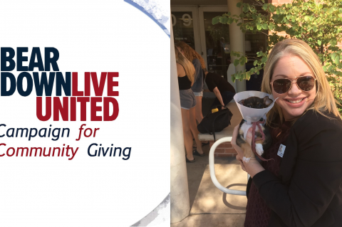 "One half of the image is a graphic that says, ""Bear Down, Live United: Campaign for Community Giving."" in red and blue letters. The other half is a photo of Tiffany Gregory holding a puppy."