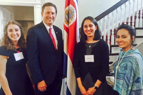 Student diplomats with Costa Rican ambassador