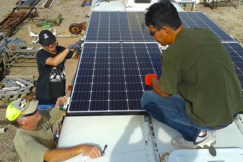 Solar-powered desalination bus