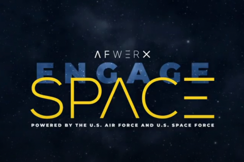 "Graphic against a starry background with the words ""AFWERX Engage Space: Powered by the U.S. Air Force and U.S. Space Force in white, yellow and blue."