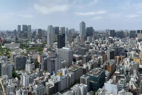 Aerial shot of Tokyo during the day