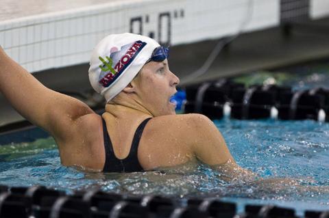 Justine Schluntz competing in pool