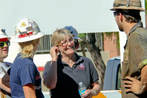 Mary Poulton at the UA's annual rock-drilling contest